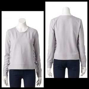 Juicy Couture Satin Ribbon Side Lace Up Sweatshirt